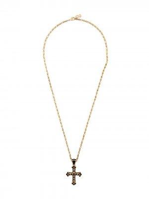 Колье с кулоном-крестом Dolce & Gabbana. Цвет: золотистый