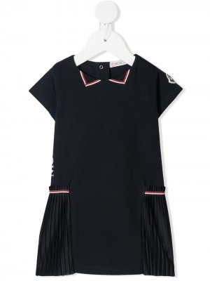 Платье с короткими рукавами и полосками Moncler Enfant. Цвет: синий