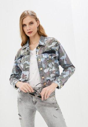 Куртка джинсовая DSHE. Цвет: разноцветный