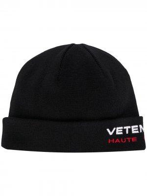 Шапка бини с вышитым логотипом Vetements. Цвет: черный