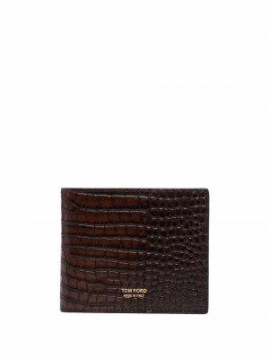 Бумажник с тиснением под крокодила TOM FORD. Цвет: коричневый