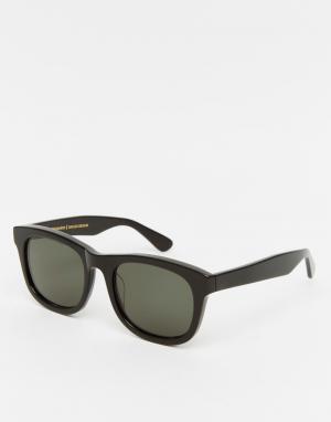 Солнцезащитные очки в черной квадратной оправе Wolfgang Han Kjobenhavn. Цвет: черный