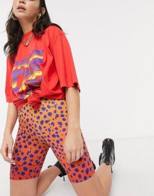 Красные шорты-леггинсы с ярким гепардовым принтом House Of Holland-Красный Holland