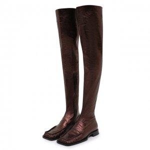 Кожаные ботфорты Jil Sander. Цвет: коричневый