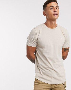 Бежевая футболка с закругленным краем -Кремовый Abercrombie & Fitch
