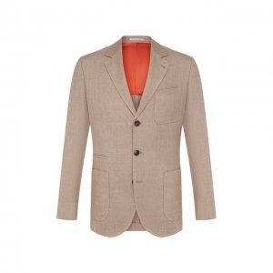 Пиджак из смеси льна и шерсти Brunello Cucinelli. Цвет: бежевый