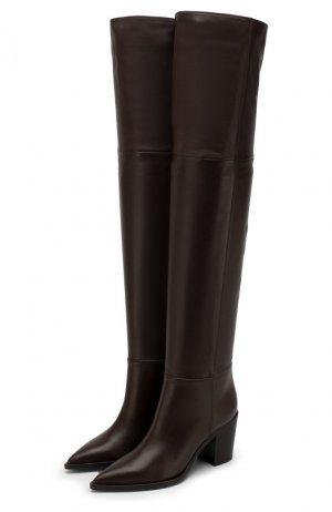 Кожаные ботфорты Daenerys 70 Gianvito Rossi. Цвет: коричневый