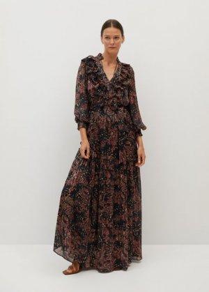 Длинное платье с принтом - Cache Mango. Цвет: черный