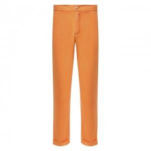 Льняные брюки Kiton. Цвет: оранжевый