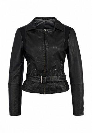 Кожаная куртка Silvian Heach SI386EWJW701. Цвет: черный