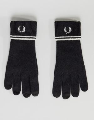 Черные перчатки из овечьей шерсти с отделкой Fred Perry. Цвет: черный