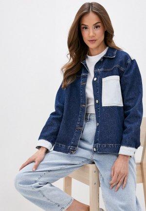 Куртка джинсовая Trendyol. Цвет: синий