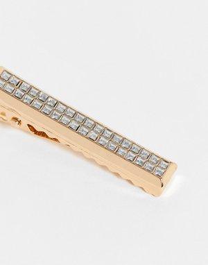 Золотистый зажим для галстука с серебристыми стразами ASOS DESIGN