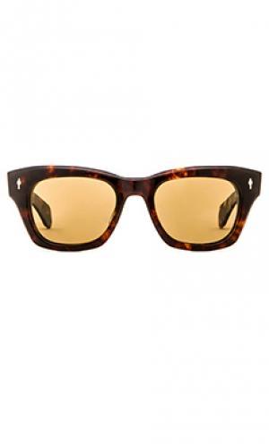 Солнцезащитные очки с золотым покрытием 10 к дужек и оправы dealan Jacques Marie Mage. Цвет: коричневый