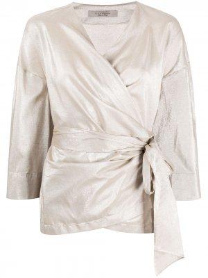 Платье с запахом и эффектом металлик D.Exterior. Цвет: нейтральные цвета