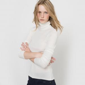 Пуловер с воротником из смешанной ткани шерстью La Redoute Collections. Цвет: черный