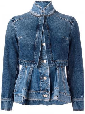 Многослойная джинсовая куртка Alexander McQueen. Цвет: синий