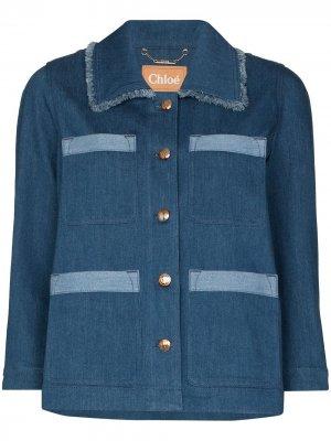 Джинсовая куртка с контрастными вставками Chloé. Цвет: 49f stormy bliue