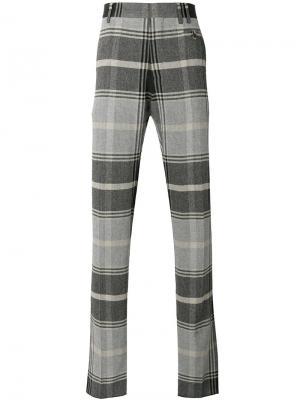 Клетчатые костюмные брюки Vivienne Westwood Man. Цвет: коричневый