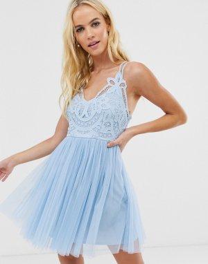 Платье мини с кружевным лифом на бретелях Premium-Синий ASOS DESIGN