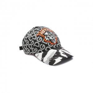 Хлопковая бейсболка Dolce & Gabbana. Цвет: серый