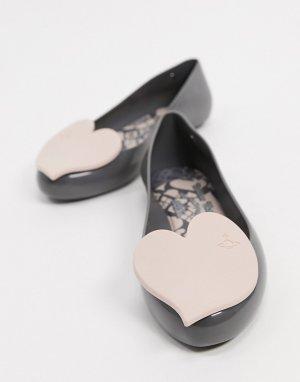 Серые балетки с сердцами -Серый Vivienne Westwood for Melissa