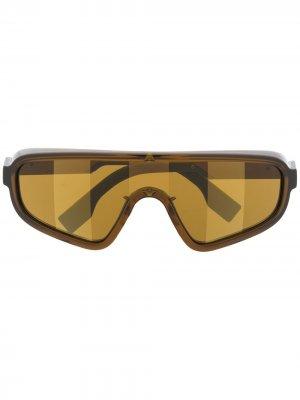 Солнцезащитные очки-маска Fendi Eyewear. Цвет: коричневый
