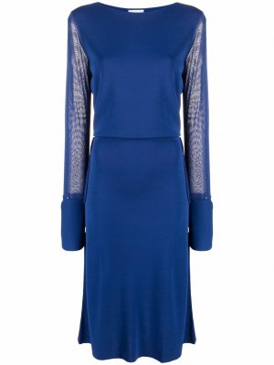 Платье миди с длинными рукавами Salvatore Ferragamo. Цвет: синий