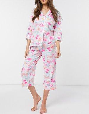 Пижама с брюками капри и рубашкой лацканами Lauren by Ralph Lauren-Многоцветный