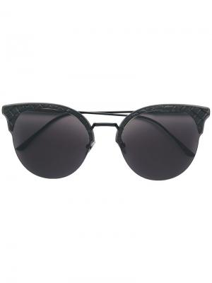 Intrecciato cat eye sunglasses Bottega Veneta Eyewear. Цвет: черный