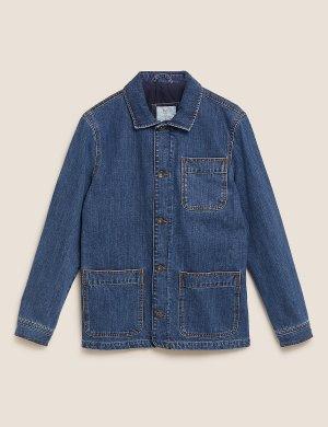 Джинсовый пиджак стандартного кроя с карманами M&S Collection. Цвет: индиго