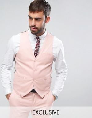 Супероблегающий жилет из хлопкового сатина Only & Sons. Цвет: розовый