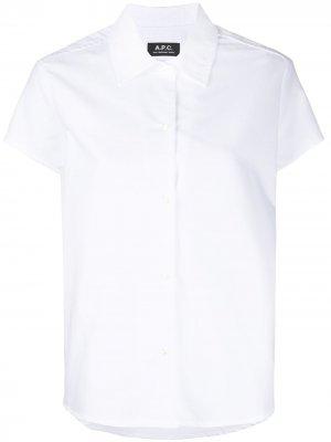 Рубашка с заостренным воротником и короткими рукавами A.P.C.. Цвет: белый