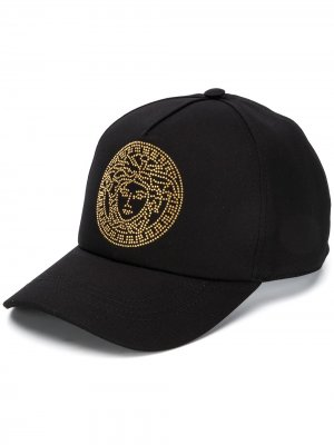 Бейсболка с декором Medusa Versace. Цвет: черный