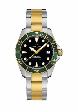 Часы Certina DS Action Diver 38mm. Цвет: золотой