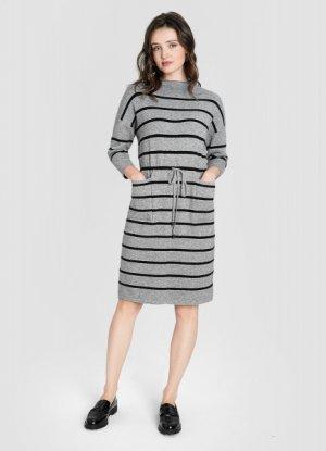 Вязаное платье на кулиске O`Stin. Цвет: серый