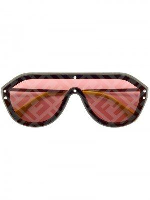 Солнцезащитные очки-авиаторы с логотипом Fendi Eyewear. Цвет: серый