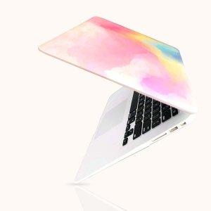 2шт акварельный Чехол для ноутбука 13,3 дюйма SHEIN. Цвет: розовые