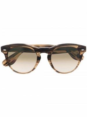 Солнцезащитные очки в круглой оправе Brunello Cucinelli. Цвет: коричневый