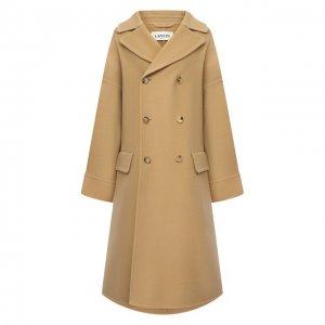 Шерстяное пальто Lanvin. Цвет: бежевый