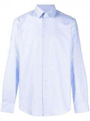 Рубашка с длинными рукавами и абстрактным принтом BOSS. Цвет: синий
