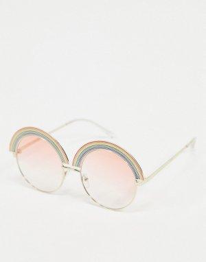 Золотистые круглые солнцезащитные очки с радужной отделкой -Золотой AJ Morgan