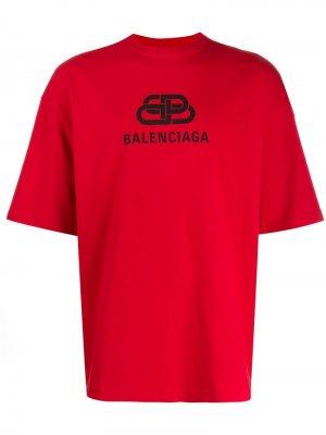 Футболка с логотипом BB Balenciaga. Цвет: красный