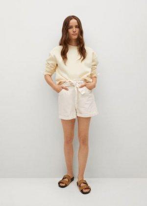 Джинсовые шорты Paperbag - Mia Mango. Цвет: экрю