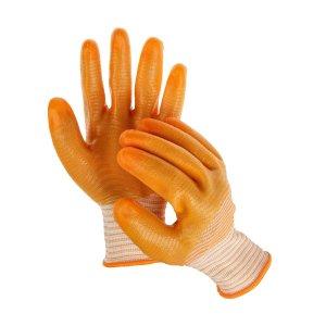 Перчатки текстильные, с pvc пропиткой, оранжевые Greengo