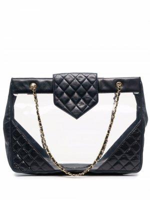 Стеганая пляжная сумка 2004-го года Chanel Pre-Owned. Цвет: синий