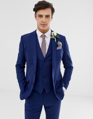 Приталенный льняной пиджак wedding-Голубой French Connection