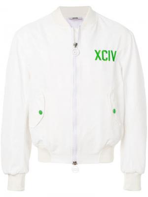 Куртка-бомбер с вышивкой Gcds. Цвет: белый