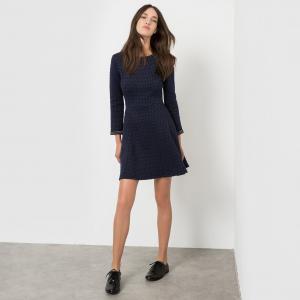 Платье из стеганой ткани с рисунком KARL MARC JOHN. Цвет: синий морской