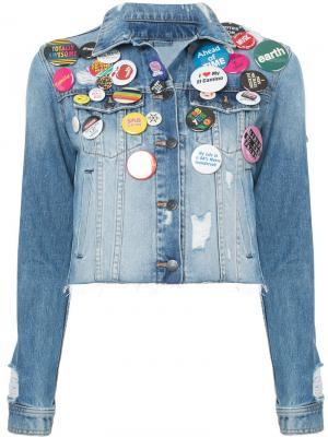 Укороченная джинсовая куртка со значками Veronica Beard. Цвет: синий